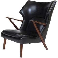 Kurt Olsen Danish Rosewood Black Leather Bear Chair