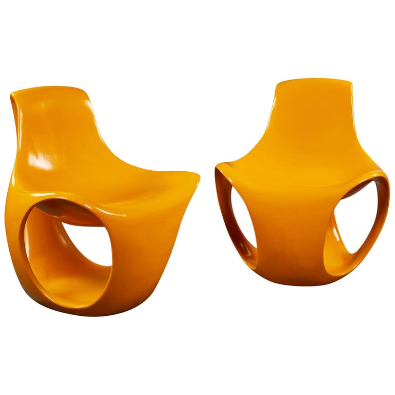 Rare and Highly Sculptural Pair of Yellow Fiberglass Chairs