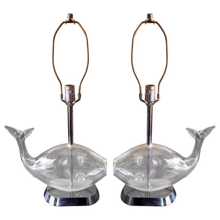 Pair of Midcentury Blown Glass Fish Lamps by Blenko
