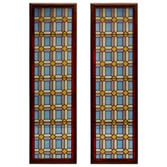 1920s Set of Two Multicolored Stained Glass Windows Panels