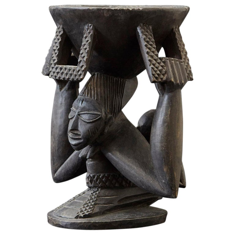 Woman Carrying Baby in a Papoose, Kola Nut Holder from Abeokuta, Nigeria, 1950s For Sale