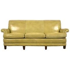Regency Style Three-Seat Leather Sofa