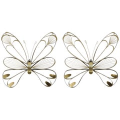 Pair of Butterfly Sculptures by Curtis Jere