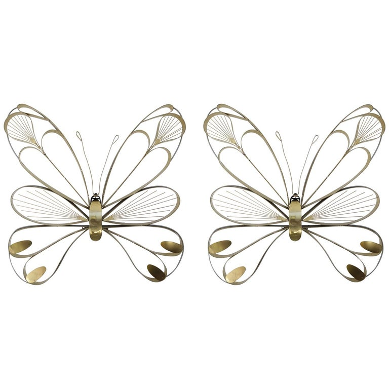 Pair of Butterfly Sculptures by Curtis Jere For Sale