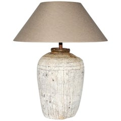 Large Rustic Chinese Storage Jar Lamp Base with Linen Shade