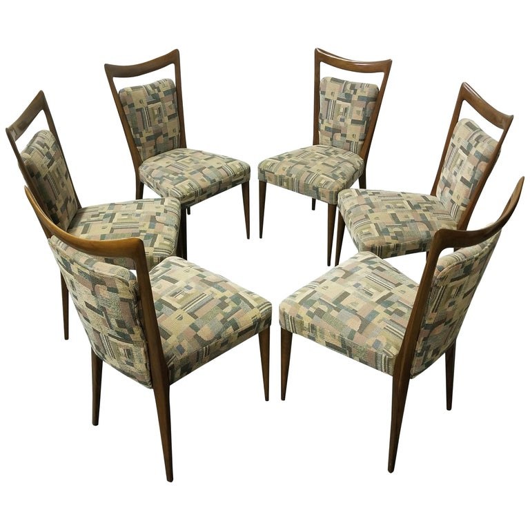 Set of Six Italian Melchiorre Bega Dining Chairs