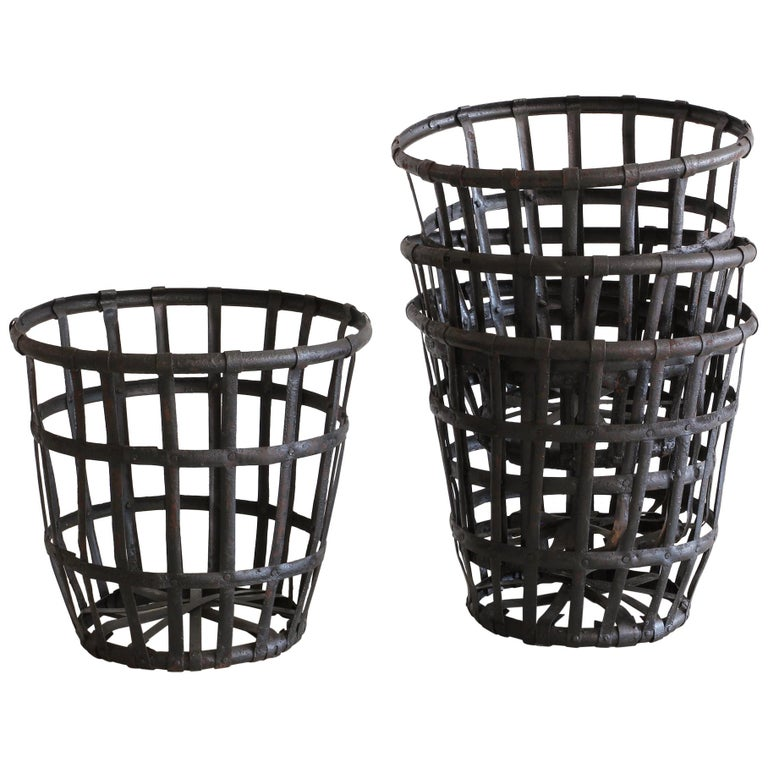 Industrial Iron French Baskets For Sale