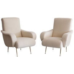Pair of Zanuso Style Chairs in Wool Bouclé
