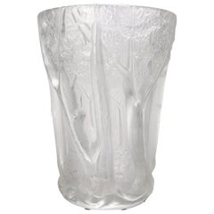 French Lalique School Frosted Crystal High Relief Woodland Vase, 20th Century