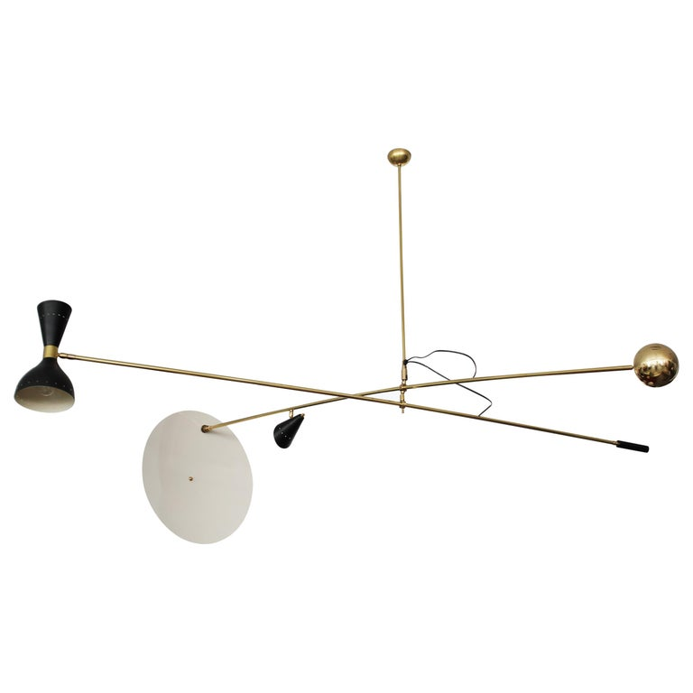 Large Scale Architectural Cantilever Stilnovo Style Pendant For Sale