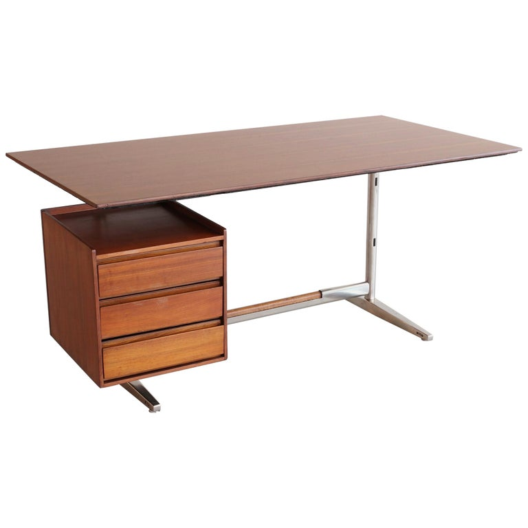 Gio Ponti Rosewood and Chrome Desk For Sale