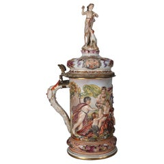 Oversized Italian Capodimonte Classical Figural and High Relief Gilt Stein
