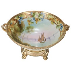 Antique Nippon Hand-Painted and Gilt Porcelain Punch Bowl with Nautical Scene