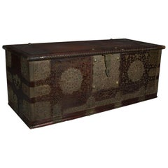 Antique Rosewood and Brass Turkish Marital Groom's Trunk, Early 19th Century
