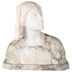 Oversized Antique Carved Marble and Alabaster Portrait Bust Dante's Beatrice