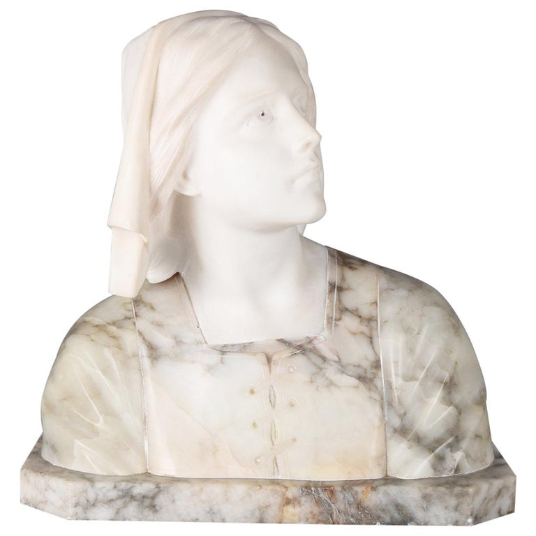 Oversized Antique Carved Marble and Alabaster Portrait Bust Dante's Beatrice For Sale