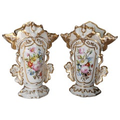 Pair of Antique Hand-Painted and Gilt Floral Old Paris Porcelain Spill Vases