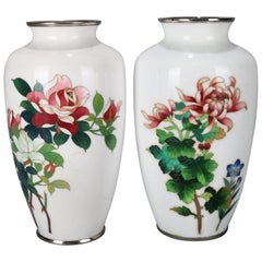 Pair of Japanese Cloisonné Enameled Floral Rose and Chrysanthemum Cabinet Vase