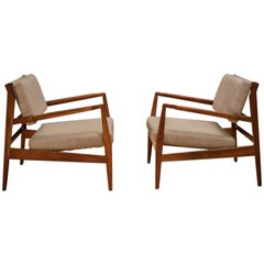 Vintage Pair of Walnut Lounge Chairs by Jens Risom