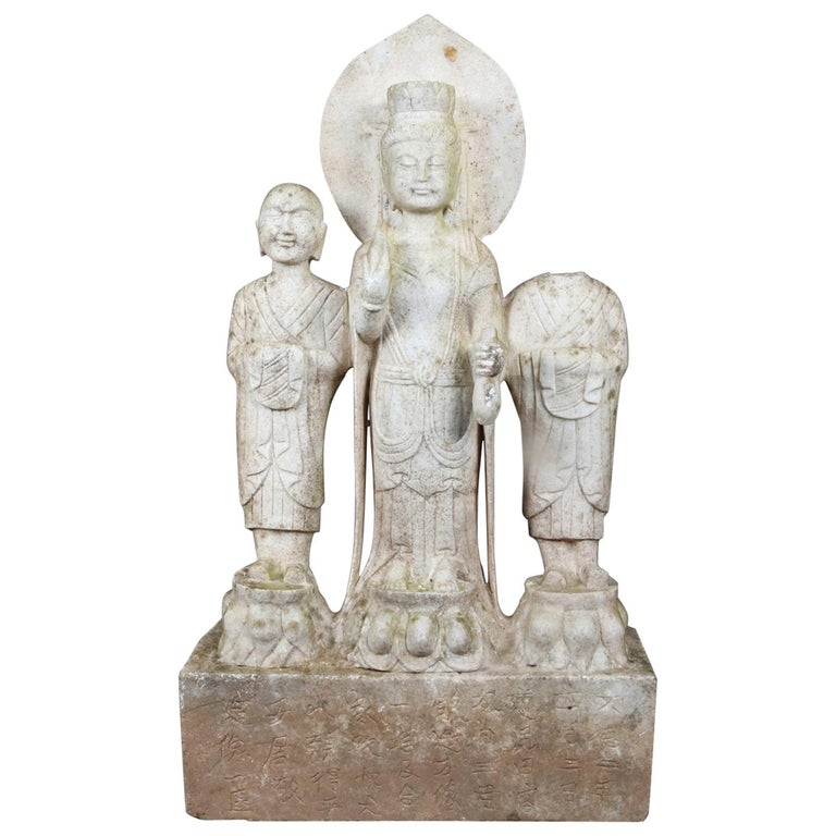Antique Asian Hand-Carved Figural Marble Sculpture of Three Standing Buddhas