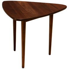 Mid Century Solid Walnut Triangle Table by Jens Risom