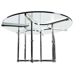 Custom-Made Metal and Glass Round Modern Dining Table