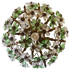 French Dome Shaped Floral Prism Ceiling Lamp