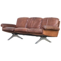De Sede DS31 Three-Seat Sofa Cognac Brown Leather