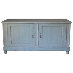 French Early 1900s Two-Door Painted Pinewood Buffet