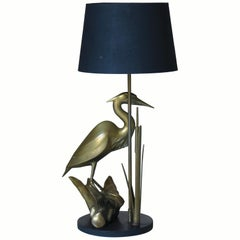 "French 1960s Brass ""Heron"" Lamp"