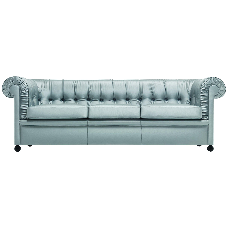 Baleri Italia Bristol Three-Seat Sofa in Silver Fabric by Enrico Baleri