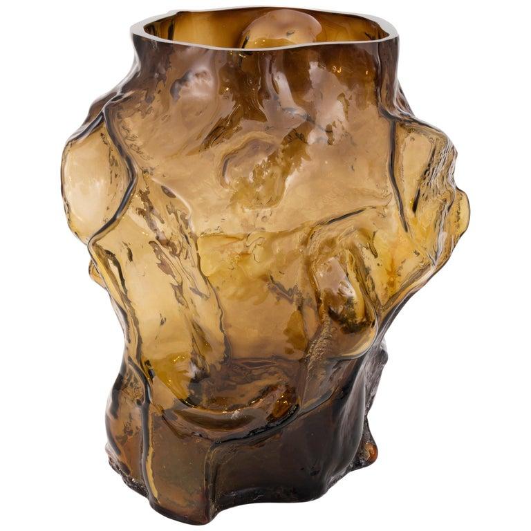 Contemporary Design Unique Glass 'Mountain' Vase by Fos, Caramel