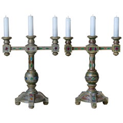 Pair of Medieval Style Jeweled Lamps, France, circa 1930s