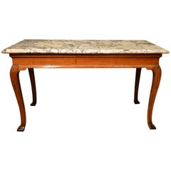 ​18th Century Cabriole Leg Walnut Marble-Top Side Table
