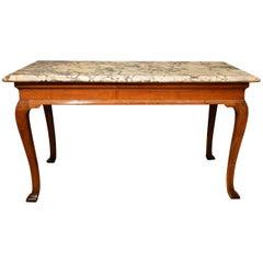 18th Century Cabriole Leg Walnut Marble-Top Side Table