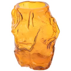 Contemporary Design Unique Glass 'Mountain' Vase by Fos, Amber