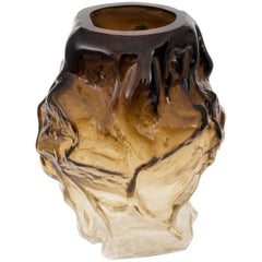 Contemporary Design Unique Glass 'Mountain' Vase by Fos, Brown Ombré