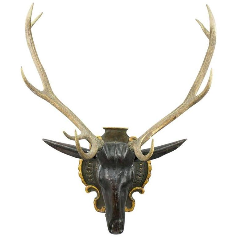 Wooden Carved Stag Head in Baroque Style, circa 1900