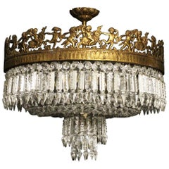 French Gilded Bronze and Crystal Six-Light Antique Plaffonier
