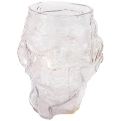 Contemporary Design Unique Glass 'Mountain' Vase by FOS - Clear
