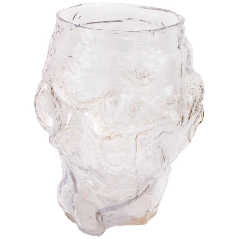 Contemporary Design Unique Glass 'Mountain' Vase by FOS - Clear For Sale