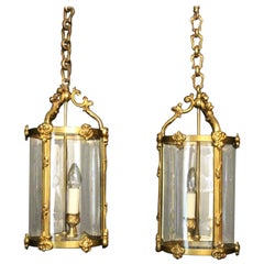 French Pair of Gilded Bronze Convex Hall Lanterns