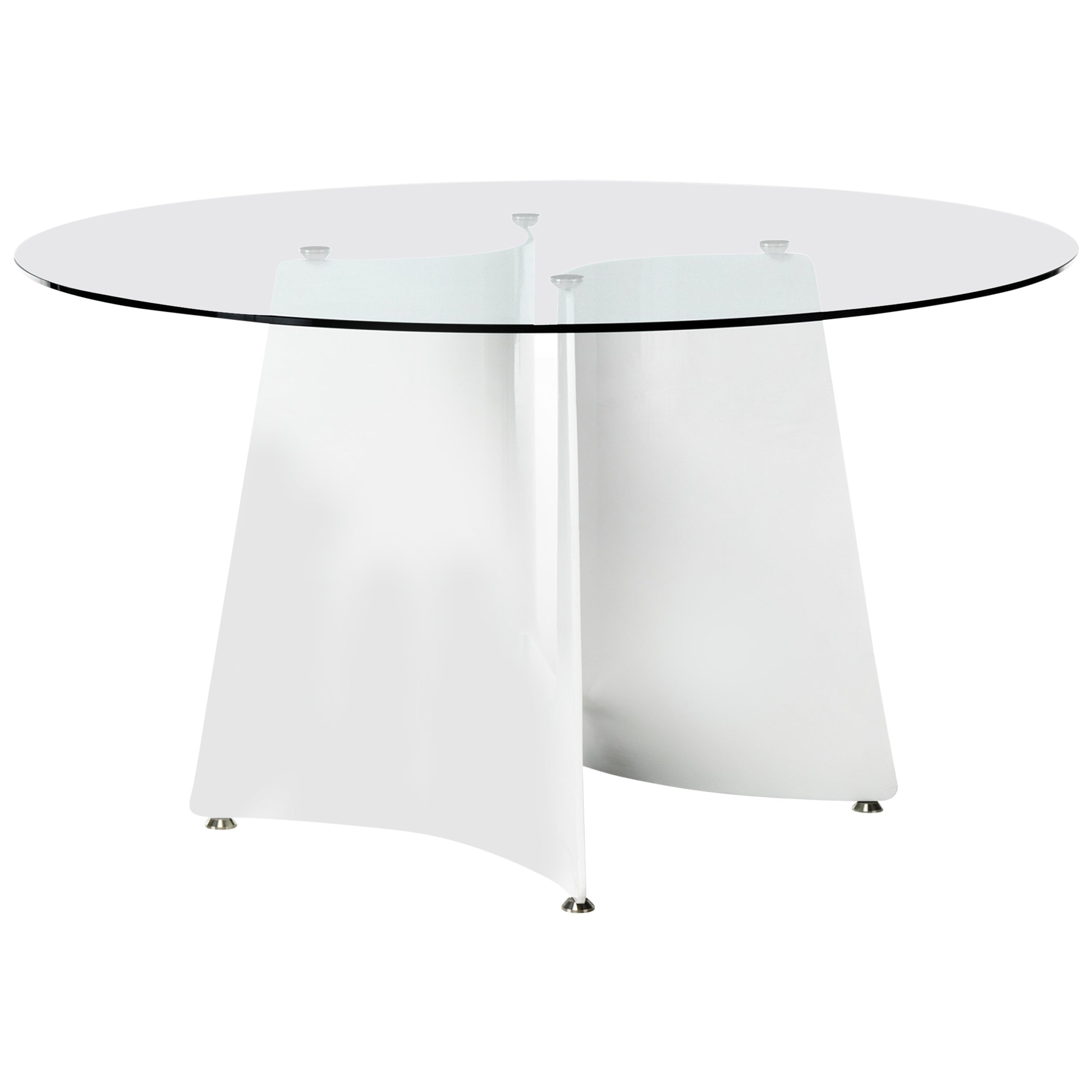 Baleri Italia Bentz High Round White Table with Glass Top by Jeff Miller