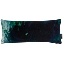 Modern Green and Blue Cotton Velvet Lumbar Cushion by 17 Patterns