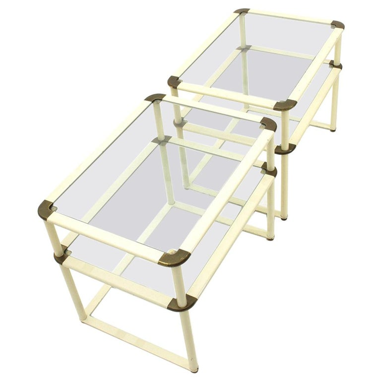 Brass and Glass Bed Side Table, 1970s, Set of Two