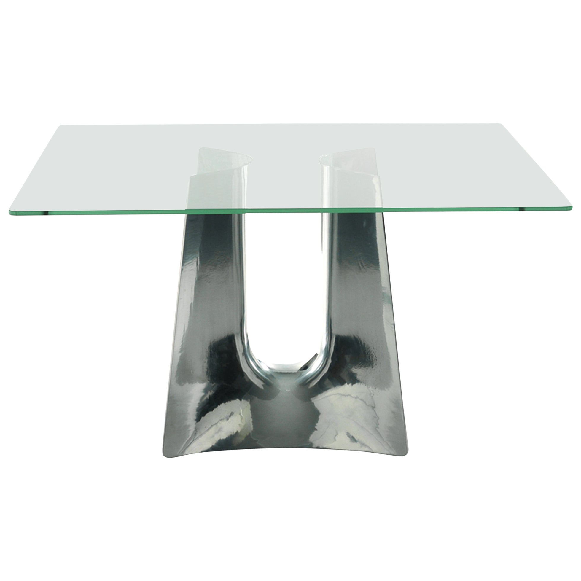 Bentz High Square Aluminum Table W/ Glass Top by Jeff Miller