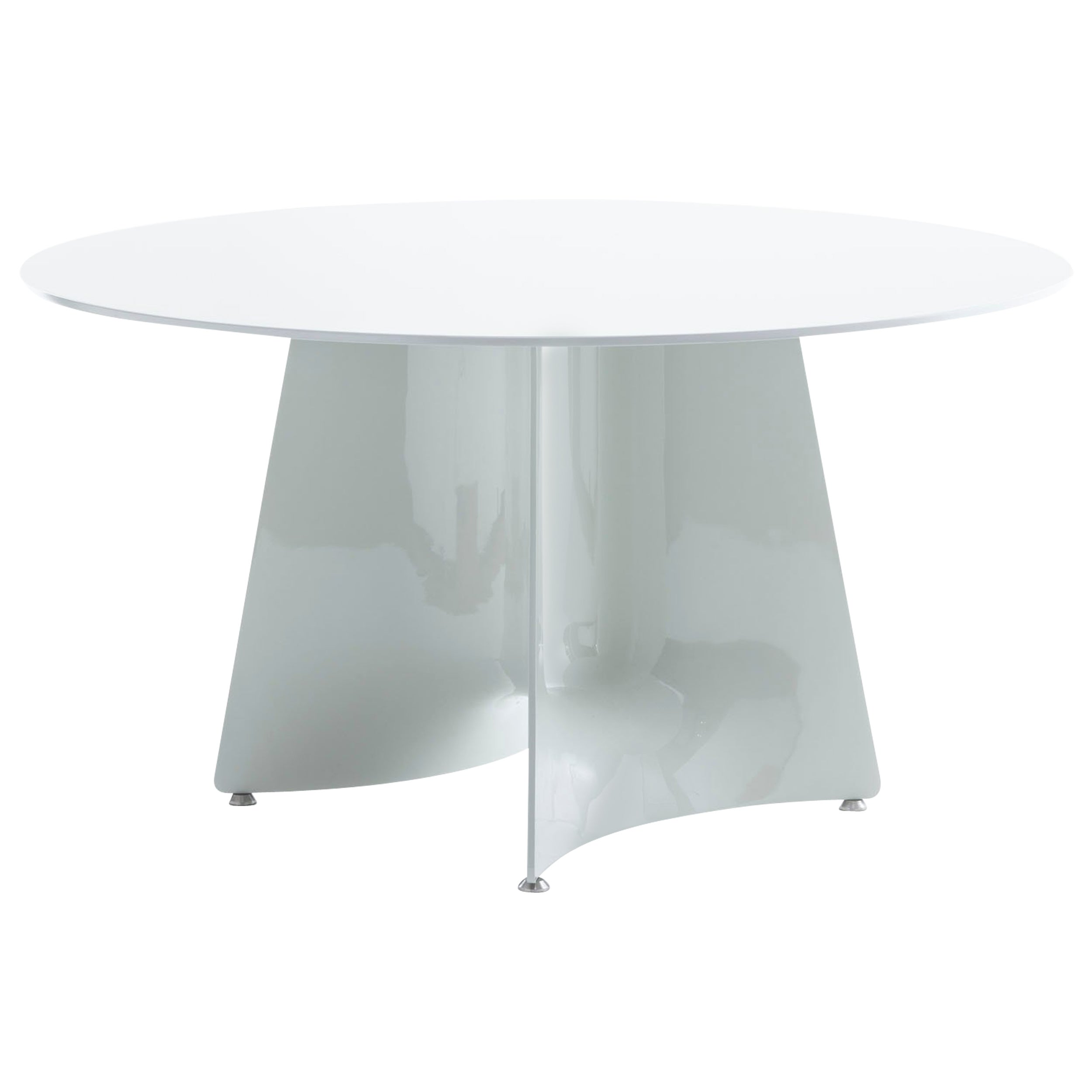 Baleri Italia Bentz High Round White Table with Wood Top by Jeff Miller