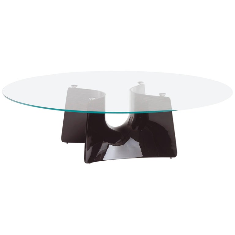 Baleri Italia Bentz Low Round Black Coffee Table With Glass Top By Jeff Miller For