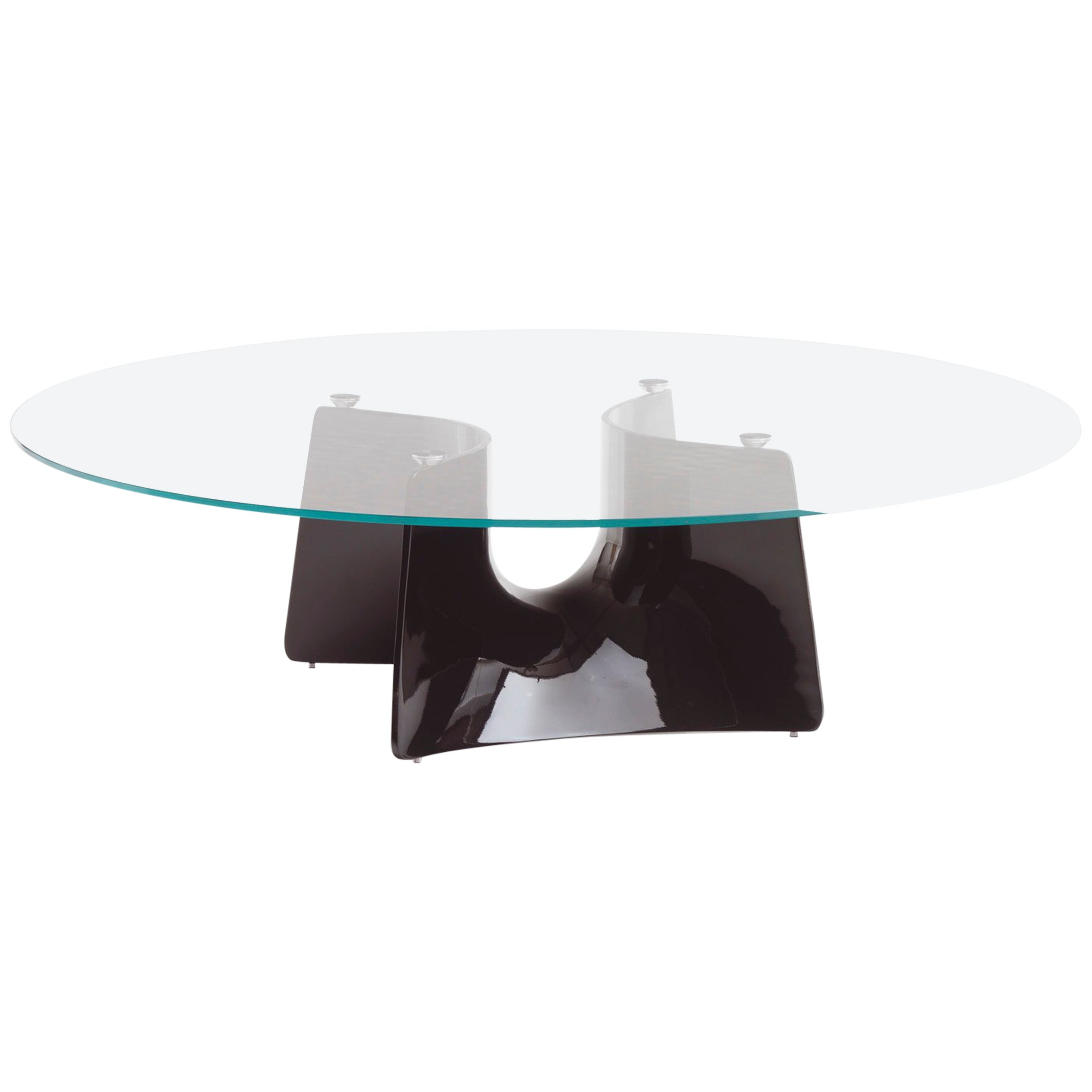 Baleri Italia Bentz Low Round Black Coffee Table with Glass Top by Jeff Miller