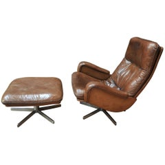 S 231 Swivel James Bond Swivel Armchair with Ottoman from De Sede, 1960s